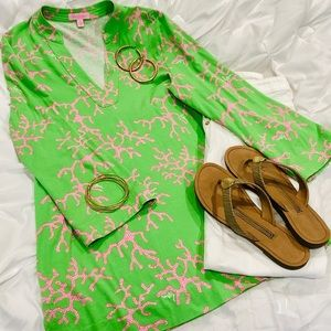 Lilly Pulitzer lime and pink coral top